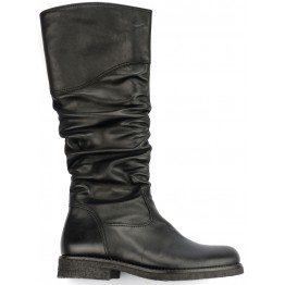 Gabor 51.522.27 black leather long boot for women with pleated shaft