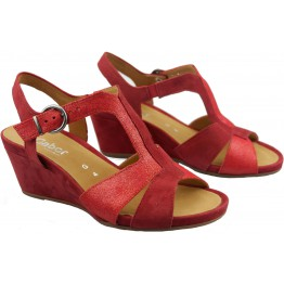 Gabor sandals 82.864.28 red leather and suede WEDGES 05e61e50c1