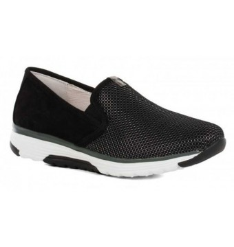 Gabor rollingsoft sensitive 66.970.47 black nubuck and mesh combi slip-on walkingshoes for women